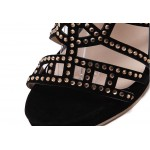 Black Suede Gladiator Peep Toe High Heels  Stiletto Rhinestone Pumps Shoes
