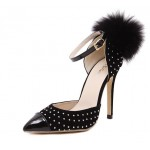 Black Suede Patent Silver Studs Point Toe Back Fur Pom Stiletto High Heels Shoes