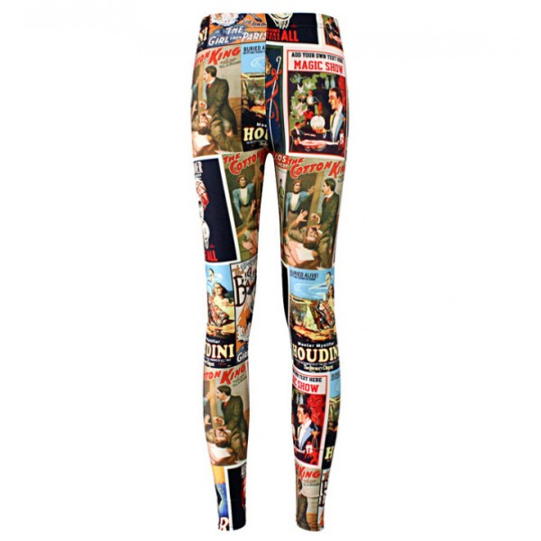 Magazines Comic Print Yoga Fitness Leggings Tights Pants
