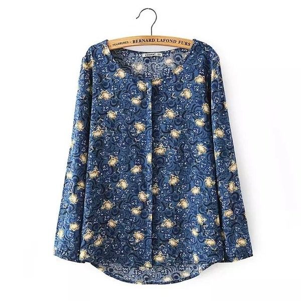 White Blue Vintage Retro Pattern Cotton Long Sleeves Blouse Shirt
