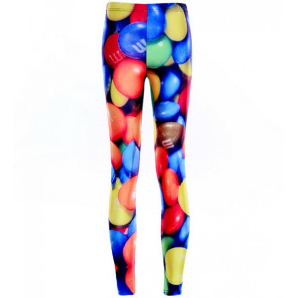 Colorful Rainbow Smarties Candies Print Yoga Fitness Leggings Tights Pants
