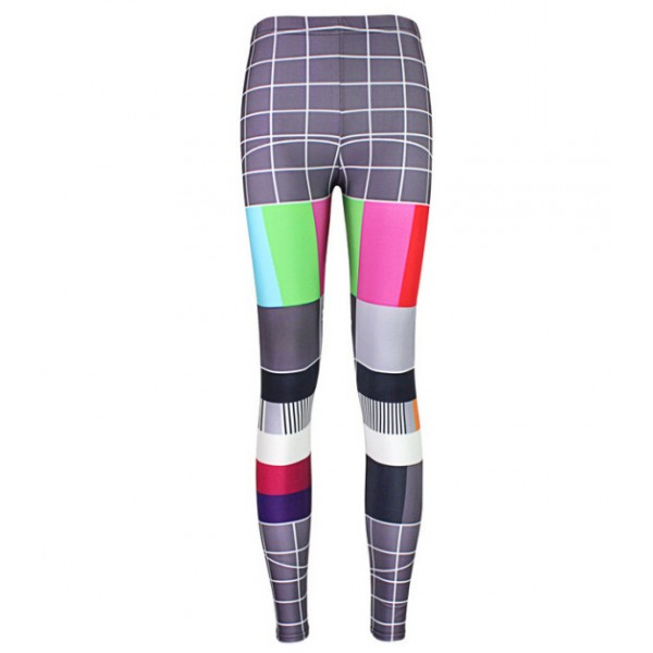 Grey TV Color Signal Board Print Yoga Fitness Leggings Tights Pants