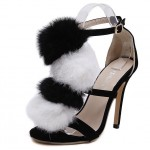Black White Fur Pom Suede High Stiletto Heels Pumps Sandals