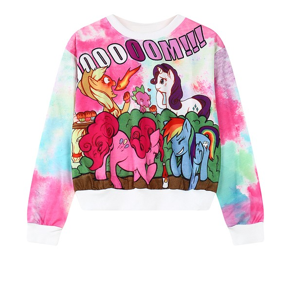 Pink Blue Rainbow Unicorns Cloud Cartoon Cropped Long Sleeve Sweatshirts Tops