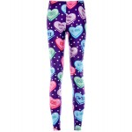 Purple Hearts Love Candies Print Yoga Fitness Leggings Tights Pants