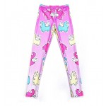 Pink Purple Pegasus Sheeps Cartoon Print Yoga Fitness Leggings Tights Pants