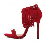 Red Suede Ankle Fringes Bohemia Stiletto High Heels Sandals Shoes