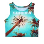 Blue Green Summer Palm Tree Sleeveless T Shirt Cami Tank Top