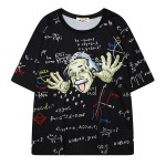 Black Albert Einsten Harajuku Funky Short Sleeves T Shirt Top