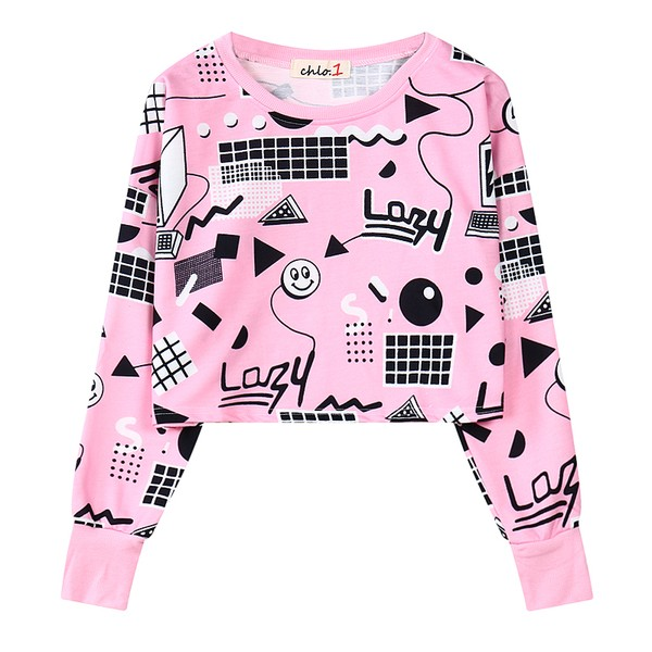 Pink Geometric Lazy Cartoon Cropped Long Sleeve Sweatshirts Tops