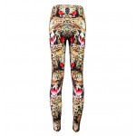 Brown Yellow Fierce Tiger Leopard Cheetah Print Yoga Fitness Leggings Tights Pants