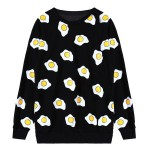 Black White Sunny Side Up Fried Eggs Long Sleeve Sweatshirts Tops