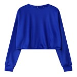 Blue Cute Girl Cartoon Cropped Long Sleeve Sweatshirts Tops