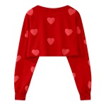 Red Blue Sweet Hearts Cartoon Cropped Long Sleeve Sweatshirts Tops