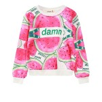 Pink Rainbow Damn Watermelon Harajuku Funky Long Sleeve Sweatshirts Tops