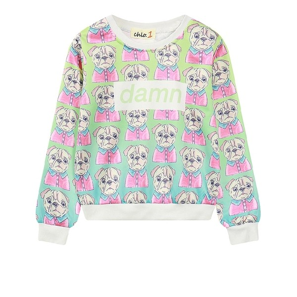 Green Rainbow Damn Dogs Harajuku Funky Long Sleeve Sweatshirts Tops