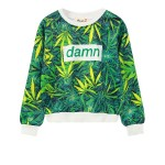 Green Hemp Leaves Damn Funky Long Sleeve Sweatshirts Tops