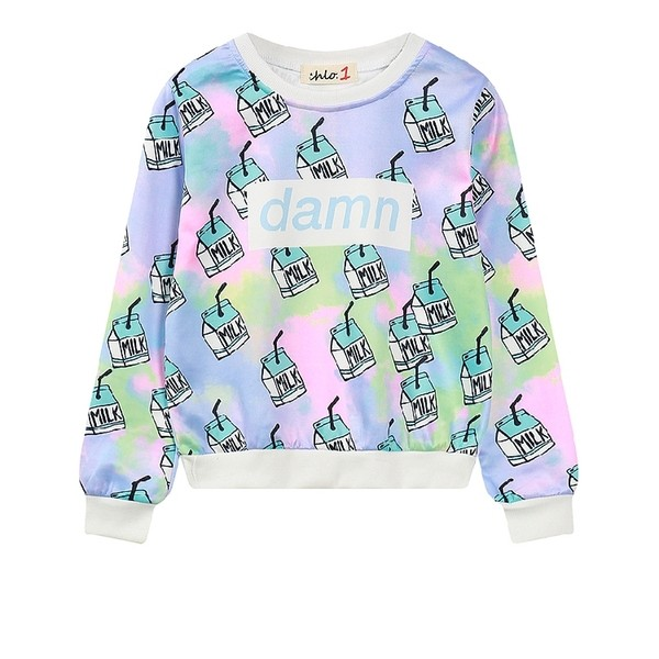 Blue Rainbow Damn Milk Harajuku Funky Long Sleeve Sweatshirts Tops