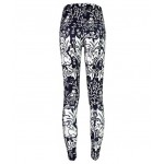 Black White Vintage Rabbits Birds Print Yoga Fitness Leggings Tights Pants