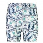 White US Dollars Bank Notes  Print Yoga Fitness Leggings Tights Pants