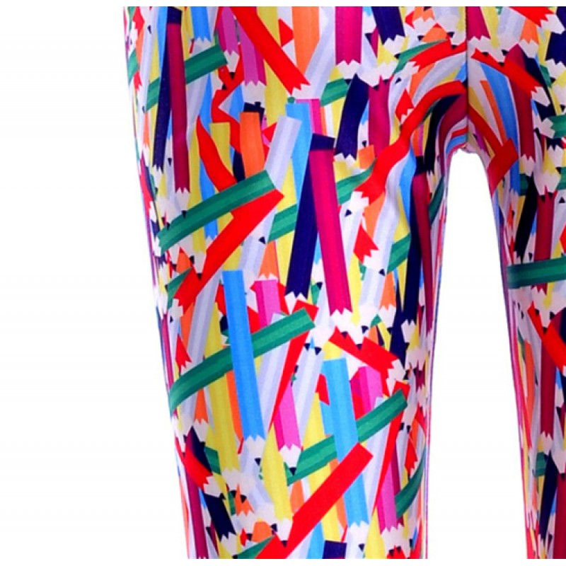 Colorful Color Pencils Print Yoga Fitness Leggings Tights Pants