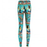 Green Egyptian Pharaoh Antique Print Yoga Fitness Leggings Tights Pants