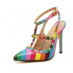 Rainbow Stripes Rivets Pointed Toe High Stiletto Heels Strappy Shoes