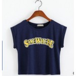 Cropped Vintage Short Sleeves Somewhere Tops T Shirt