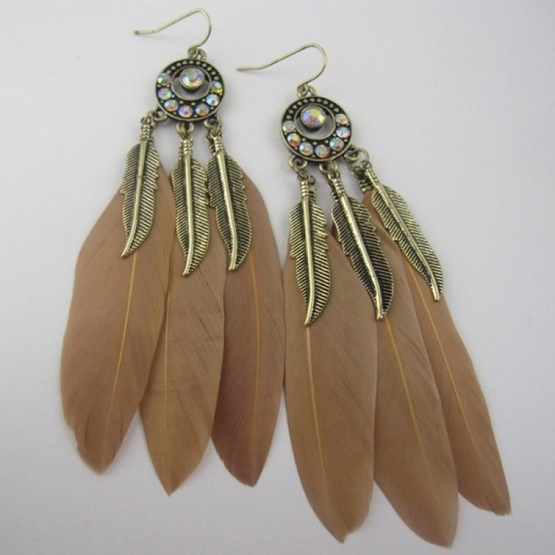 Black Brown Feathers Bronze Metal Bohemian Earrings Ear Drops