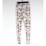 White Colorful TV Games Cartoon Print Yoga Fitness Leggings Tights Pants