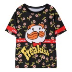 Black White Freakish Mustache Man Harajuku Funky Short Sleeves T Shirt Top