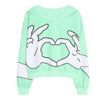 Green Black White Cartoon Hands Long Sleeve Sweatshirts Tops