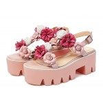 Pink Roses Flowers Floral T Straps Sling Back Platforms Fancy Sandals Shoes