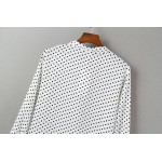 White Black Bows Polkadots Polka Dots Chiffon Long Sleeves Blouse Shirt