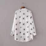 White Black Stars Vintage Retro Pattern Chiffon Long Sleeves Blouse Shirt