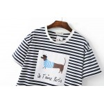 Black Blue White Stripes Je T'aime Paris Dog Short Sleeves T Shirt