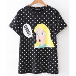 Black White Polkadots Polka Dots Cute Girl OMG Short Sleeves T Shirt