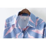 Blue Pink Flying Birds Vintage Retro Pattern Long Sleeves Blouse Shirt