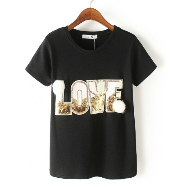 Black White Love Gold Sequins Short Sleeves T Shirt Top