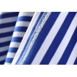 Blue White Stripes Short Sleeves T Shirt