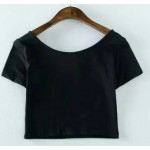 Black Cute Cat College Cropped Short Sleeves T Shirt Top