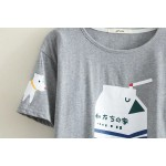 Grey Milk Box Dog House Cartoon Cropped Short Sleeves T Shirt