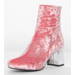 Pink Velvet Suede Blunt Head Silver High Heels Ankle Boots Shoes