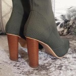 Green Khaki Dark Stretchy Knit Socks Point Head Head High Heels Mid Calf Boots Shoes