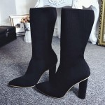 Black Stretchy Knit Socks Point Head Head High Heels Mid Calf Boots Shoes