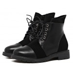 Black Suede Lace Up Combat Military Flats Boots Shoes
