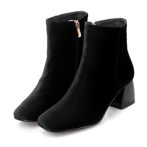 Black Velvet Suede Blunt Head Boots Shoes