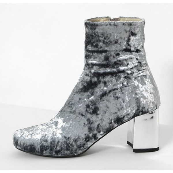 Grey Velvet Suede Blunt Head Silver High Heels Ankle Boots Shoes