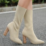 Khaki Stretchy Knit Socks Point Head Head High Heels Mid Calf Boots Shoes