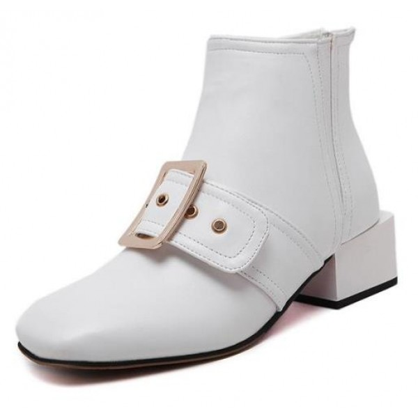 White Leather Giant Buckle Blunt Head High Heels Boots Shoes